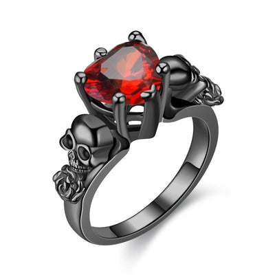 Rose And Crystal Heart Skull Ring For Women