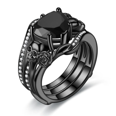 Black Rose Heart Skull Ring Set For Women