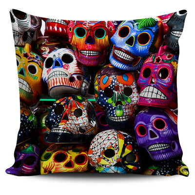 Color Sugar Skulls Pillow Cover