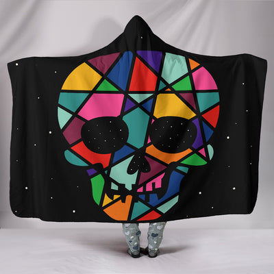Skull Hooded Blanket Black