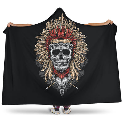 Tribal Chief Skull (Black) - Hooded Blankets