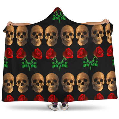 Roses and Skulls Hooded Blanket for Skull Lovers