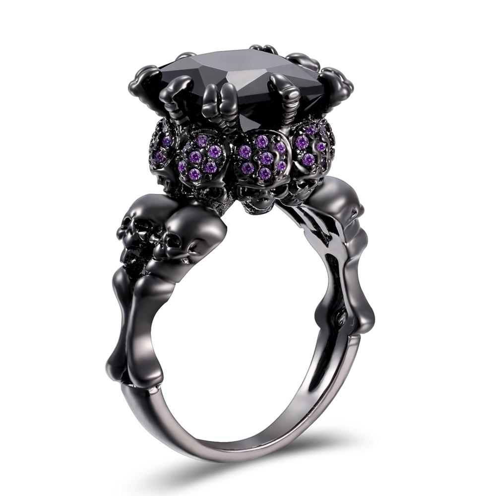 Wedding Bands - Black Cubic Zircon Skull Ring