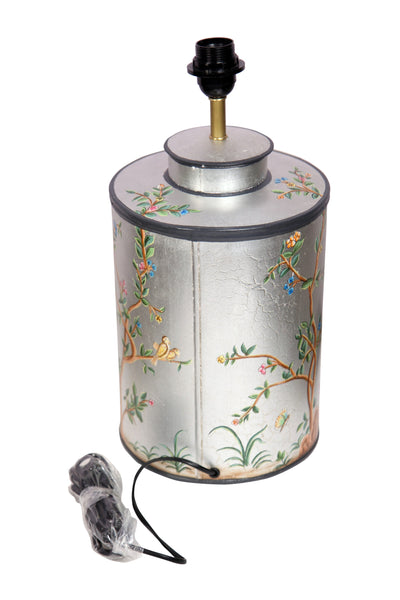 Hand Painted Metal Tree of Life Birds Silver Lamp - Vriksh of Life