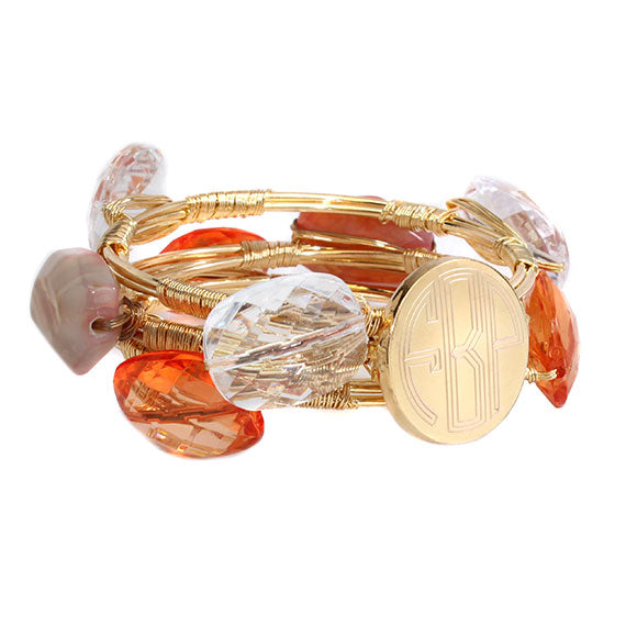 Peach and Clear Crystal Bead Bracelet with Blank or Monogram Engraved Gold Disk