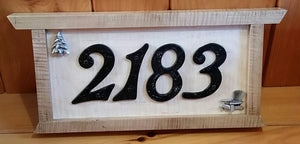 Heirloom Hourglass sign Custom Handcrafted Home Numbers Sign in Curly Maple