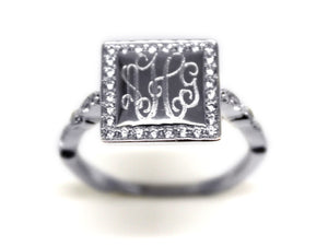 Square Silver with CZ Stackable Ring - Plain or Monogram Engraved