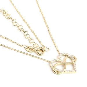 Sterling Silver Infinity Heart Necklace in Gold Finish