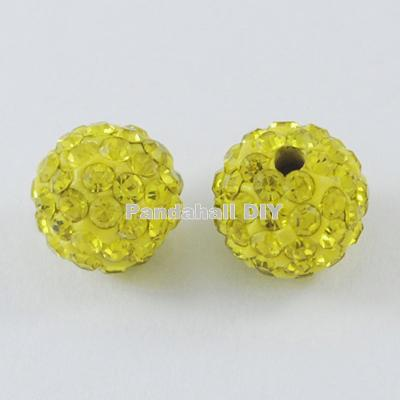 100pcs 10mm Round Pave Disco Ball Beads Polymer Clay Rhinestone Beads for jewelry making Hole: 1.5mm - Dropshipper US