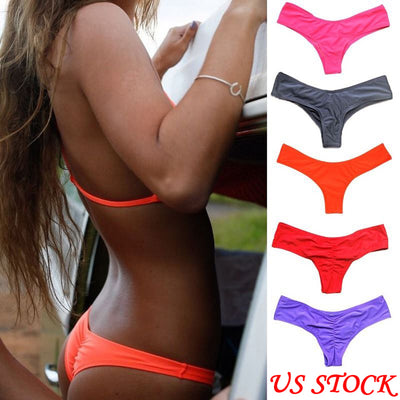 2018 Hot V shape sexy swimwear women brazilian bikini bottom thong tanga panties underwear beach biquini bather swimsuit - Dropshipper US