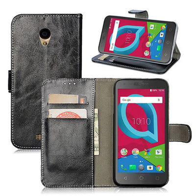 Retro Luxury Oil Wax PU Leather Wallet Flip Case With Card Slot Holder Stand Cover For Alcatel idealXCITE/CameoX/Verso 5044R/U50