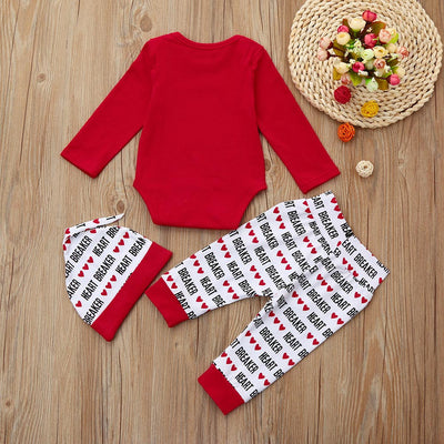 2018 New arrival fashion spring baby clothes suit born Infant Baby Boy Letter Romper +Pants+Hat Valentine's Day Outfits Set