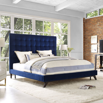 Eden Navy Velvet Queen Bed