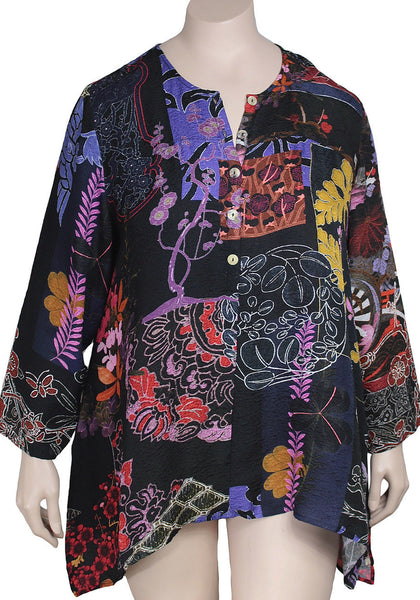 Citron Plus Size Silk Print Tunic
