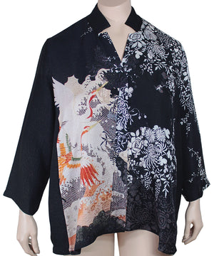 Dressori Plus Size Silk Mandarin Collar Swing Blouse