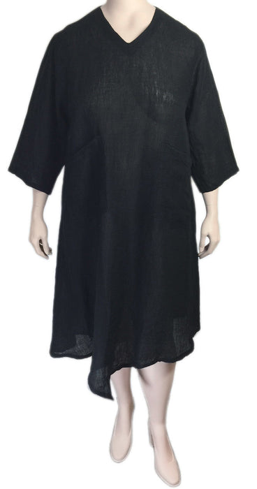 Match Point Black Linen Mesh Dress