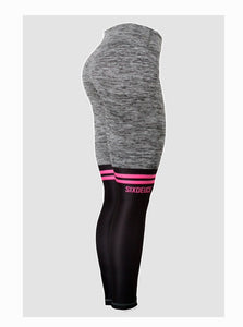 Six Deuce Knee Sox Rough Grey with Pink Horizontal Stripes