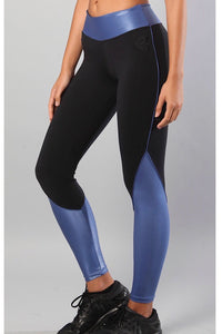 Equilibrium Alicia Blue Leggings. DURABLE/ANTI-ABRASION WRINKLE FREE STRETCH-SHAPE RETAIN NON SHRINKING INNER COMPARTMENT HYPOALLERGENIC HARDWARE HAND MADE COMPONENTS FAST DRYING FABRIC: SUPPLEX ENHANCED OXYGENATION COMPRESSION: MEDIUM MOISTURE WICKING BREATHABLE FABRIC ANTI-ODER ANTI-MICROBIAL Matches perfectly with Equilibrium Black Slashback Bra Top