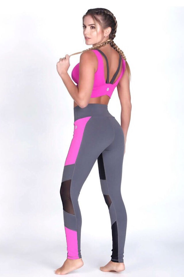Protokolo High-waist Fuchsia/Grey Leggings, squat proof leggings, supplex, hotpants, athletic wear, athletic apparel, fitness wear, fitness apparel, fitwear, athleisure, activewear for women, yoga pants