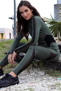 Equilibrium Army Green Leggings. DURABLE/ANTI-ABRASION WRINKLE FREE STRETCH-SHAPE RETAIN NON SHRINKING INNER COMPARTMENT HYPOALLERGENIC HARDWARE HAND MADE COMPONENTS FAST DRYING FABRIC: SUPPLEX ENHANCED OXYGENATION COMPRESSION: MEDIUM MOISTURE WICKING BREATHABLE FABRIC ANTI-ODER ANTI-MICROBIAL