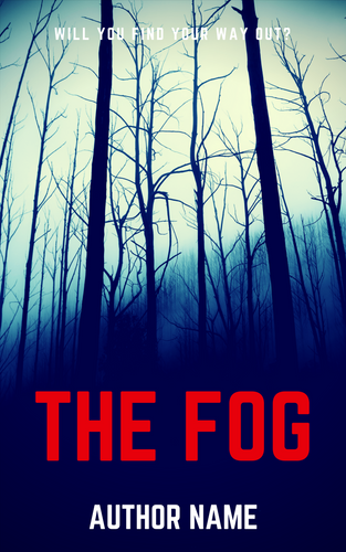 premade ebook cover showing dark photo of winter trees in thick fog. All caps two word title in red, all caps author name in white.
