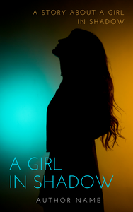 Premade book cover featuring young woman with long hair in silhouette on an orange and blue background. Large print blue title and small orange author name.