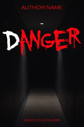 Premade book cover featuring a dark hallway lit by a single bulb. Book title is red and in aggressive horror font with small red author name.