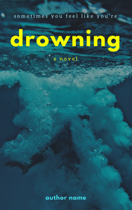 premade ebook cover with yellow lowercase title and small blue author name over an image of a man sinking underwater.