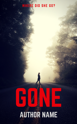 premade ebook cover photo of a woman in silhouette crossing a deserted foggy road. Large red font one word title with smaller white text author name.