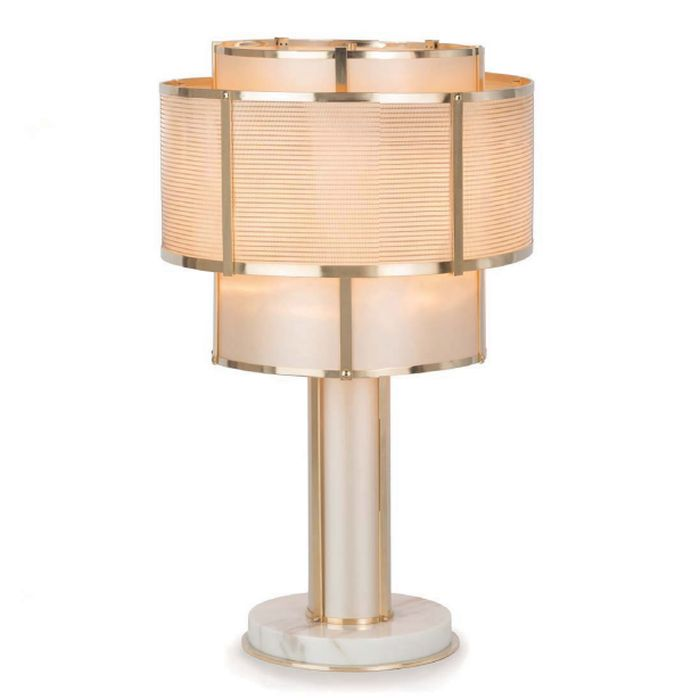 Modern Italian copper and gold table lamp with marble base