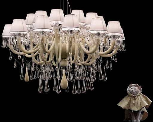 Magnificent modern cappuccino-colored Murano glass chandelier with 24 lights