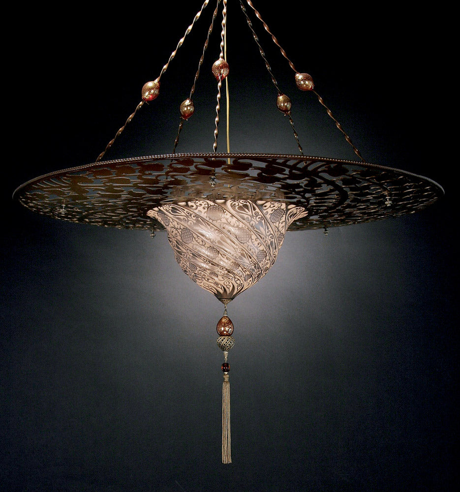 Metre-wide Fortuny style Murano glass pendant light in 7 colours