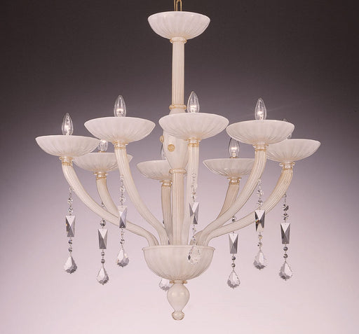 Gorgeous white Murano chandelier with 24 carat gold trim and crystal pendants