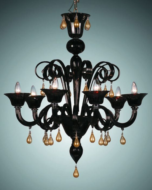 Stunning black Murano glass chandelier with teardrops and more custom colors