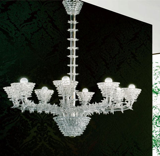 Refined glass art chandelier encased entirely in Murano glass
