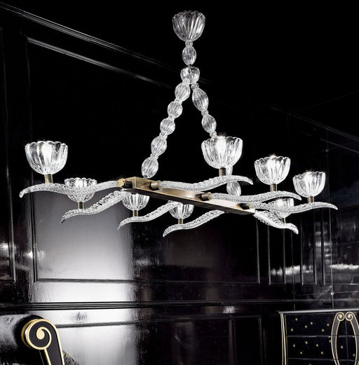 Elegant and very impressive Venetian glass dining room chandelier