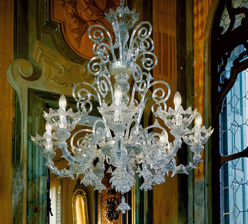 Decorative high end Venetian glass chandelier with 8 lights