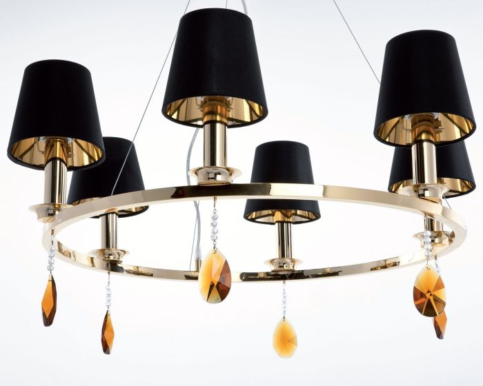 Circular Italian chandelier with Swarovski pendants and 4 metal finishes
