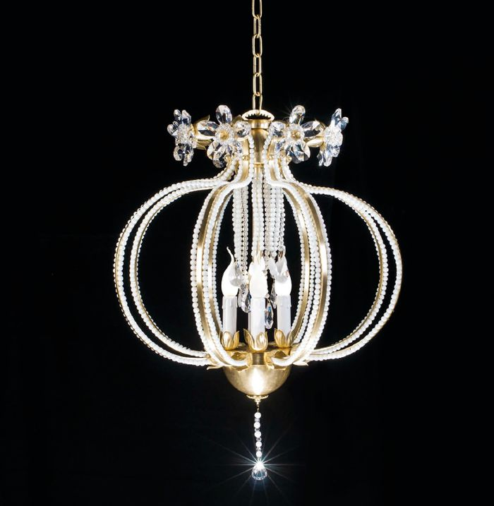 Pretty gold Italian pendant light with Murano glass beads