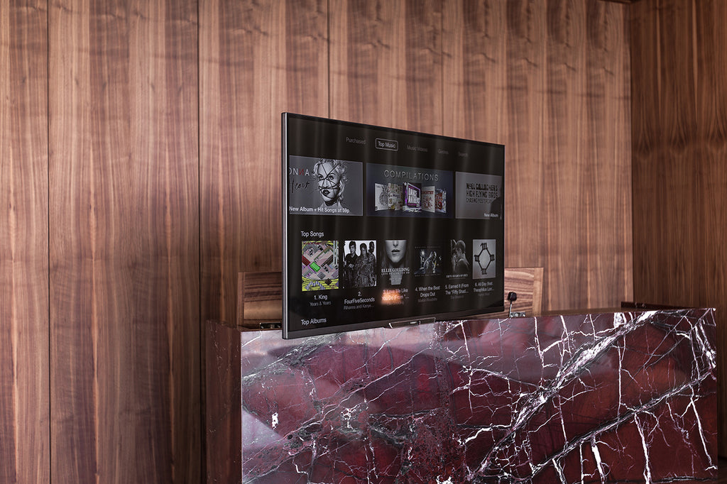 rosso levanto marble red counter flat screen tv floating hidden