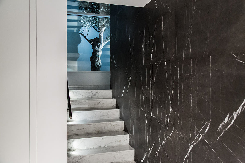 Grey Stone Wall Cladding and staircase in white marble luxury stairs