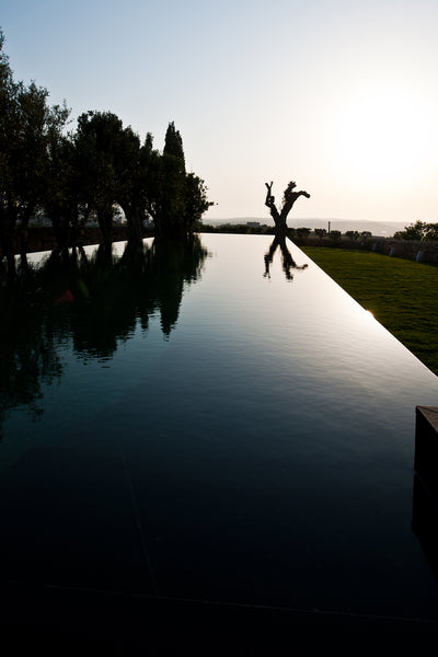 infinity pool trees reflection on water Malta natural stone