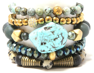 Aloe Cactus Stack: Green and Gold Fully Packed Bracelet Set Bracelets