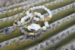 The Desert Center Stack: White Stone and Gold Bracelet Set Bracelets