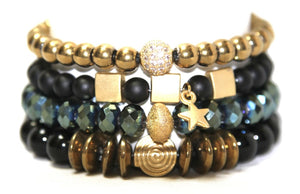Willow Star Stack: Black Gold Blue & Cool Bracelets Bracelets
