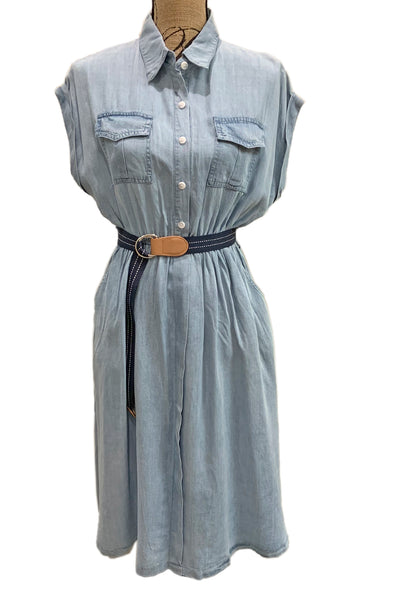 Short Sleeve Chambray Dress DR12324 by Pink Martini