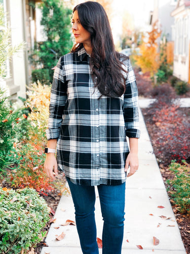 PLAID TUNIC BUTTON DOWN TOP-BLK/WHT