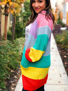 RETRO SLEEVE POCKETED CARDIGAN-MULTI-COLORED FLASH SALE 24$