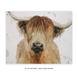 """Bernadette"" The Highland Cow (Grey Background) 10"" x 8"" Unframed Art Print - Andy Thomas Artworks"