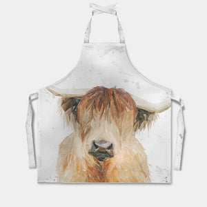 """Bernadette"" The Highland Cow (Grey Background) Apron - Andy Thomas Artworks"